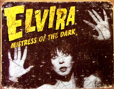 Photo of ELVIRA SPIDERWEBS SIGN SHOW ELVIRA IN THE WEB, NICE COLORS AND DETAILS
