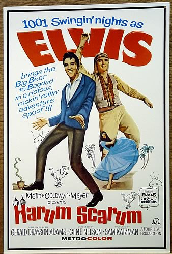 Photo of ELVIS HARUM SCARUM FROM ONE OF HIS MOVIES, THIS COLORFUL SIGN IS GREAT FUN