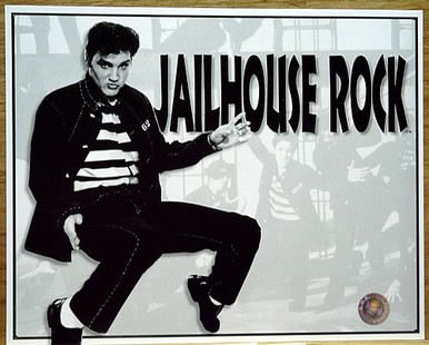 Photo of ELVIS JAILHOUSE ROCK BLACK AND WHITE SIGN HAS SCENES FROM THE MOVIE IN THE BACKGROUND