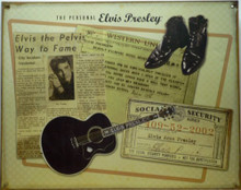 Photo of ELVIS, PERSONEL ITEMS THIS SIGN IS PRE-RUSTED FOR A RUSTIC LOOK AND HAS A PICTURE OF AN OLD NEWSPAPER ARTICLE PRAISING HIS PREFORMANCE, A TELEGRAM, A COPY OF HIS SOCIAL SECURITY CARD ALONG WITH A PICTURE OF HIS BOOTS AND GUITAR.  GREAT SIGN FOR THE SERIOUS ELVIS FAN