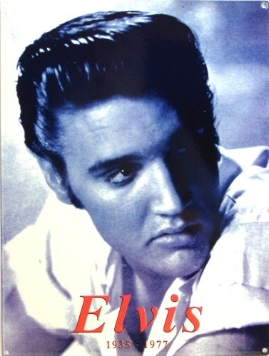 Photo of ELVIS AS A YOUNG MAN ON THIS BLACK AND WHITE PORCELAIN SIGN HAS DEEP COLORS AND DETAILS