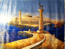 Photo of ENTRANCE TO HARBOR large SIZED OIL PAINTING