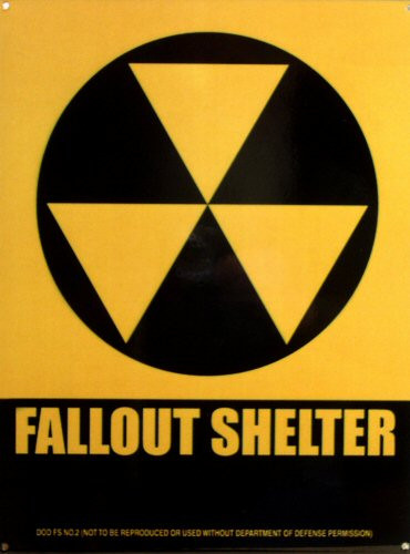Photo of FALLOUT SHELTER SYMBOL SIGN WITH THE WORDS FALLOUT SHELTER, THIS IS A PORCELAIN SIGN WITH SHARP DETAILS