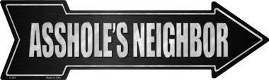 "Flat Aluminum Arrow Shaped Sign measuring 17"" x 5"" with holes for easy mounting."
