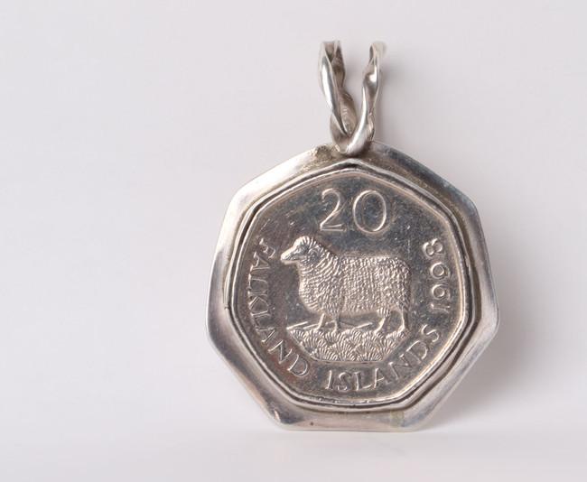 Falkland Island Coin set in a Sterling Sliver Pendant