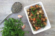 Warm Sprouted Lentil Salad - With Added Smoked Tofu - or Not