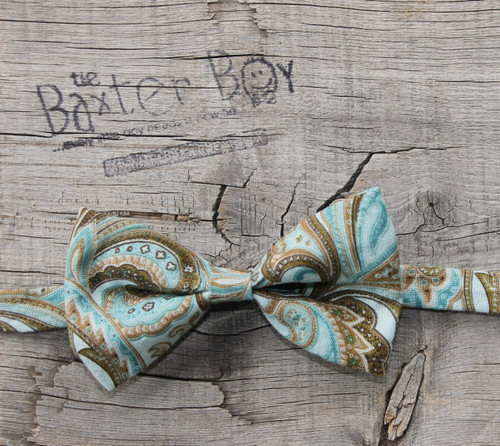 Aqua and Brown Paisley bow tie