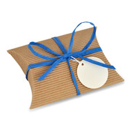 Corrugated Pillow Box with royal blue raffia ribbon and round gift tag - perfect for gloves, calf skins, ID tags, and waterproof pouches. Classic, timeless, and fun!
