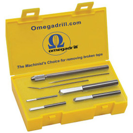 "Omegadrill OD-SET1 | Omega 4pc Broken Tap Extractor Set Includes 5/64, 1/8, 3/16 & 1/4"" USA"