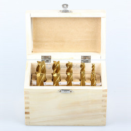 """All Industrial 11940   End Mill Set 10pc 2 & 4 Flute 1/4-3/4"""" X 8ths High Speed Steel TiN Coated"""