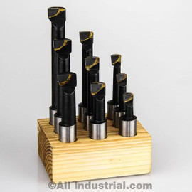 "All Industrial 11920 | 3/8"" Boring Bar Set Pro Quality 9pcs Carbide Tipped Bars 3/8"" Shank Lathe Tool"