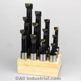 "All Industrial 11926 | 3/4"" Boring Bar Set Pro Quality 12pcs Carbide Tipped Bars 3/4"" Shank Lathe Tool"