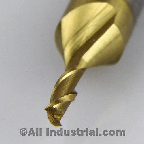 "All Industrial 14200 | 1/8"" High Speed Steel 2 Flute TiN Coated End Mill"