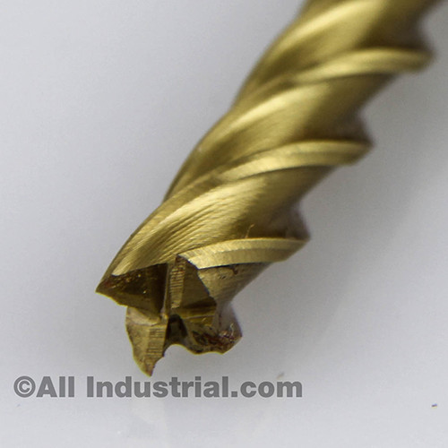 "All Industrial 14506 | 5/16"" High Speed Steel 4 Flute TiN Coated End Mill"
