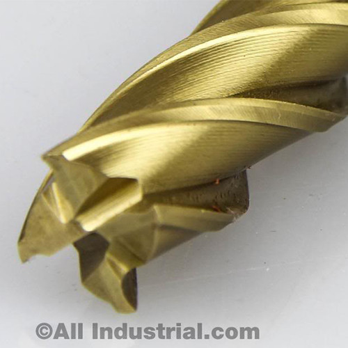 """All Industrial 14610   5/8"""" High Speed Steel 4 Flute Long Length TiN Coated End Mill"""
