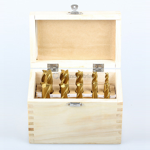 "All Industrial 11940 | End Mill Set 10pc 2 & 4 Flute 1/4-3/4"" X 8ths High Speed Steel TiN Coated"