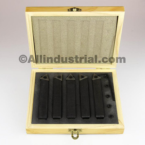"All Industrial 19920 | 1/4"" 5pc Indexable Carbide Insert Turning Tool Bit Lathe Set C6 Chipbreaker"