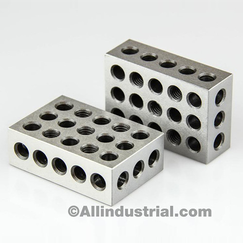 "All Industrial 55500 | 1 Matched Pair Ultra Precision 1-2-3 Blocks 23 Holes .0001"" Machinist 123 Jig"