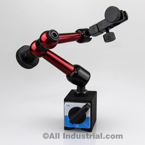 "All Industrial 52500 | 3D Mini Magnetic Base Holder 50 Lbs. Pull 9"" Reach for Dial & Test Indicators"