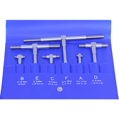 "All Industrial 55000 | Telescoping Gage 6pc Set 5/16"" - 6"" Range Super Precision T-Bore Hole Gauges"