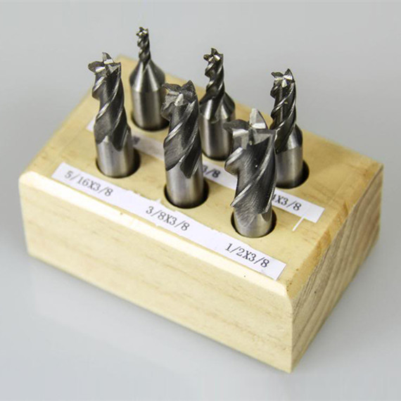 "All Industrial 11904 | 6pc HSS 4 Flute End Mill Set 1/8""-1/2"" 3/8 Shank Mills with 3/16"", 5/16"",1/4"""