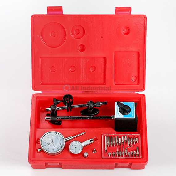 All Industrial 51908 | Dial Indicator, Test Indicator, Magnetic Base & Point Set Inspection Set