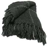 Knitted Boucle Throw - Charcoal