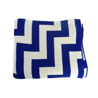 Geo Pulse Throw Knit Blue