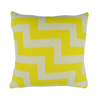Geo Pulse Knitted Cushion Yellow