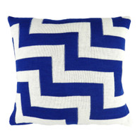 Geo Pulse Knitted Cushion Blue