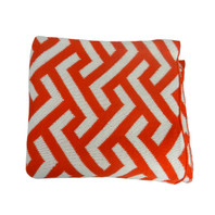 Geo Zima Knitted Throw Orange