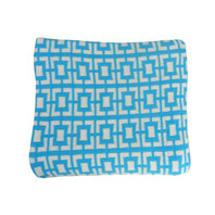 Geo Flow Knitted Throw Sky Blue and White