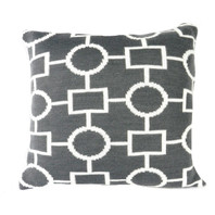 Geo Flow Knitted Cushion Grey and White