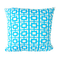 Geo Flow Knitted Cushion Sky Blue and White