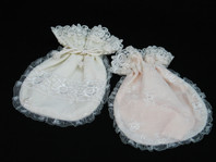 Set of 2 Pink and Cream Draw String Pouch with Lace Trim