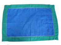 Placemat Blue with Green Border Cotton Linen