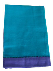 Set of 4 Napkins Teal and Purple Cotton Linen