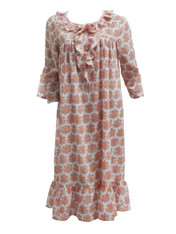 Lulu Pink 3/4 Sleeve Frilly Nighty Large