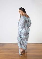 Kimono Batik Leaf Light and Dark Blue