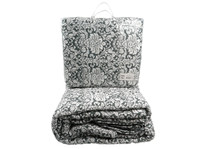 Isabella Grey and White Floral Quilt Set