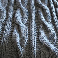 Chunky Cable Knit Throw Light Grey 130X170cm 100% Wool