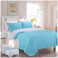 Reversible Bedspread Coverlet Blue/White