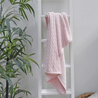 Cable Knit Pink Baby Blanket 75X100cm