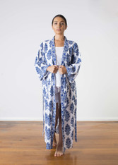 Amelie Blue in White Gown Hand Block Print
