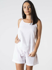 Lulu White with Lace Short PJ set PACK OF 2 SETS: S/M & M/L