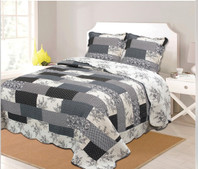 Patchwork Quilt Set Black, Reverse Cream