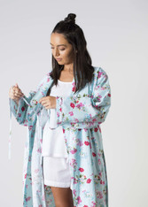 Ariana Blue Floral Dressing Gowns PACK OF 3: S,M,L