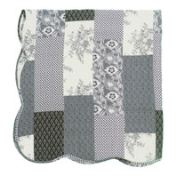 Patchwork Quilt Throw Black/ Cream Reversible