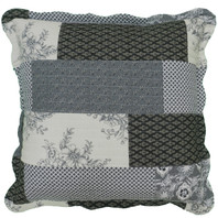 Patchwork Euro Cushion Cover Black/Cream