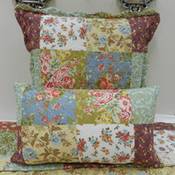 Patchwork Euro Cushion Cover Red/Mustard